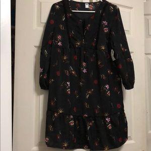 Velvet-Trim Swing Dress for Women